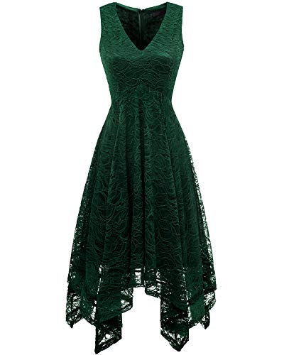 Bridesmay Women's Elegant V-Neck Sleeveless Asymmetrical Handkerchief Hem Floral Lace Cocktail Party DressDark Green S
