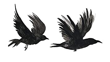 82b33c92951aa Image Unavailable. Image not available for. Color: Set of 5 Waterproof  Temporary Fake Tattoo Stickers Watercolor Grey Crow ...