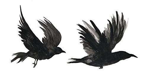 Set of 5 Waterproof Temporary Fake Tattoo Stickers Watercolor Grey Crow Birds Swallow