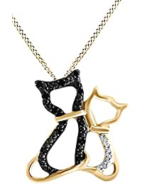 Black & White Natural Diamond Kitty Cats Pendant Necklace 14k Gold Over Sterling Silver