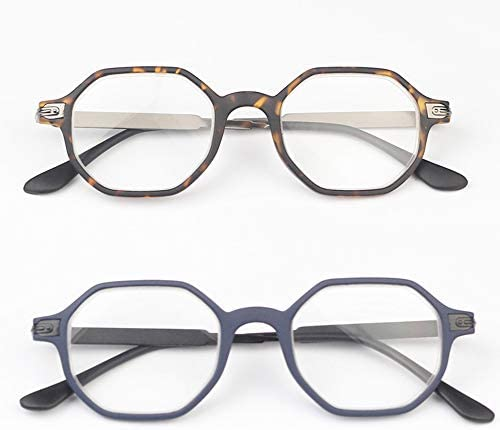 老眼鏡 超軽量 携帯用 リーディンググラス レトロ風 形状記憶 メタル TR バネ丁番 レディース メガネ ブラウン ブルー 度数+2.00 首掛け