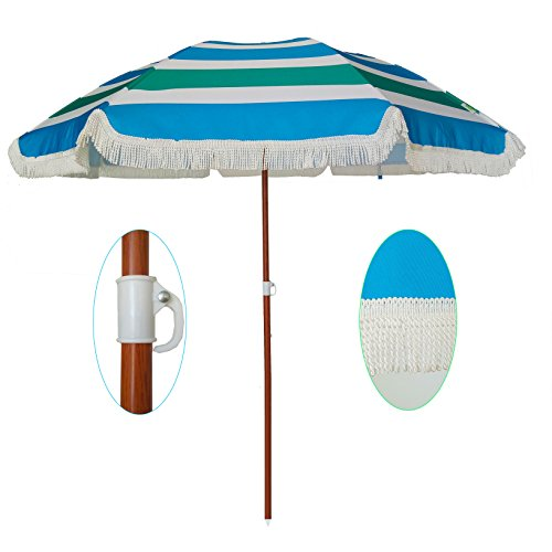 AMMSUN 2018 6ft Outdoor Patio Beach Umbrella Sun Shelter with Fringe UV50+ Sun Protection, Lightweight, Portable & easy to setup in the Sand and Carry Bag Green Blue White Stripe