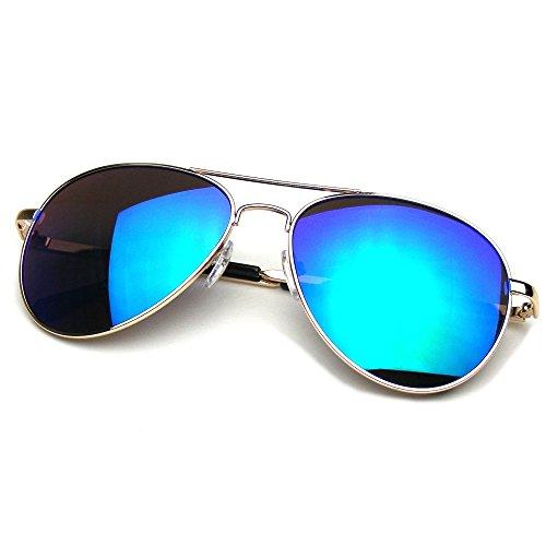 Flash Mirrored Lens Premium Metal Frame Aviator Sunglasses - Aviators Reflective Blue