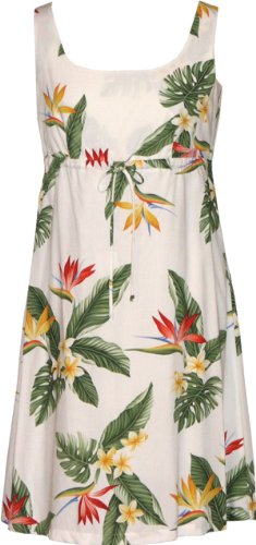 Bird Of Paradise Display - RJC Women's Bird of Paradise Display Empire Tie Front Dress, White, M