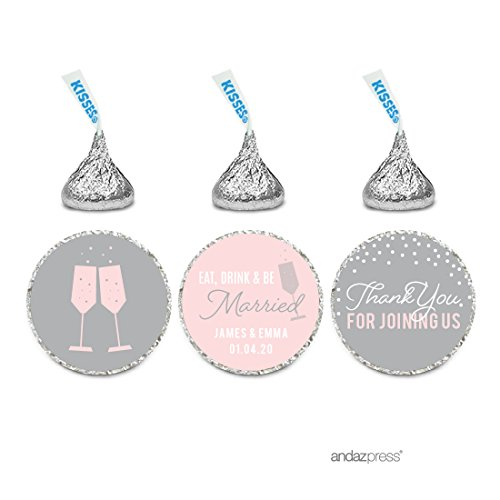 Andaz Press Pink Blush and Gray Pop Fizz Clink Wedding Collection, Personalized Chocolate Drop Label Stickers Trio, 216-Pack, Custom Name, Fits Hershey's Kisses Party Favors ()
