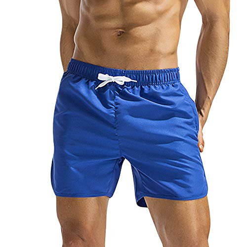 Swim Trunks for Men Forthery Summer Breathable Swim Trunks Pants Swimwear Shorts Slim Solid Color Beachwear(Blue,M)