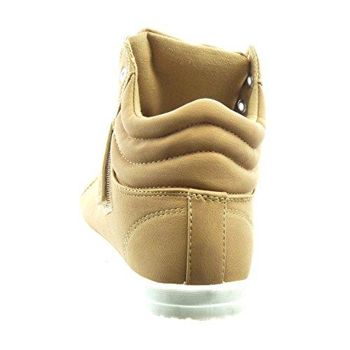 Sopily - Scarpe da Moda Sneaker donna finitura cuciture impunture Tacco a blocco 2 CM - Marrone