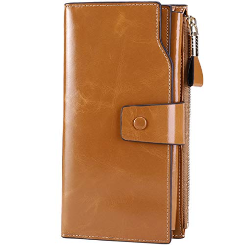 Itslife Women's Large Capacity Luxury Wax Genuine Leather Cluth Wallet Card Holder(apricot)