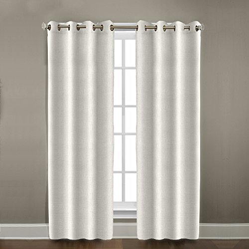 Veratex Contemporary Style 100  Linen Construction Made In The Usa Living Room Grommet Window Panel Curtain  Pearl  108