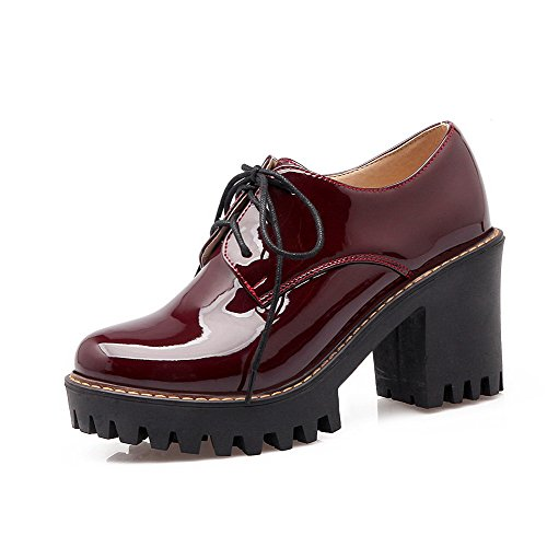 AgooLar Damen Schnüren PU Mittler Absatz Rein Pumps Schuhe, Silber, 43