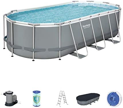 Bestway Power Steel 18 x 9 x 4 Foot Above Ground Swimming Pool Set with Pump