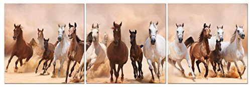 Canvas Wall Art Decor - 24x24 3 Piece Set (Total 24x72 inch)- Panoramic Galloping Horses - Large Decorative & Modern Multi Panel Split Canvas Prints for Dining & Living Room, Kitchen, Bedroom & Office