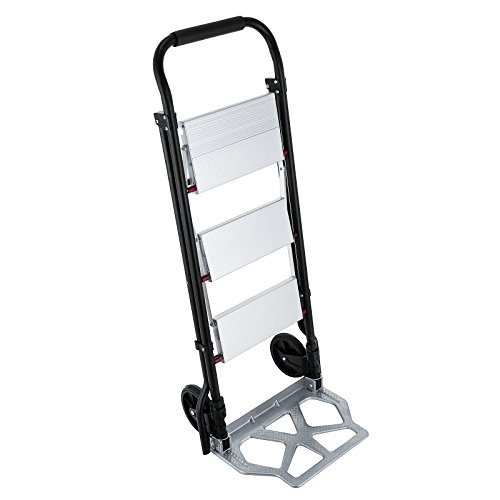 OrangeA Step Ladder Folding Cart Dolly 175LBS Hand Truck with Two Wheels (2 in 1 ladder)