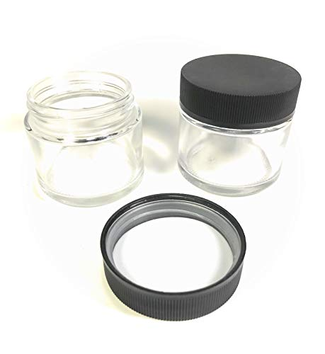 24 pcs 1/8 ounce Glass Jars with Child Resistant Lids. 2 Fluid Ounces, Straight Sides, Smell Proof & Child Proof Tops hold Herbs, Spice, Cannabis, Craft, Hardware & Hazardous Items ()