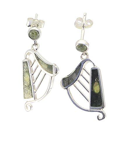 Connemara Marble Inlaid Sterling Silver Harp Earrings Studs (Sterling Silver Harp)