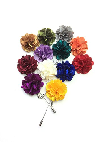 Mens Boutonniere - Unibuy Men's Lapel Pin Set with Handmade Flower Boutonniere For Suit (Gift Box Of 12)