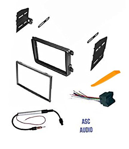 ASC Double Din Car Stereo Radio Dash Kit, Wire Harness, and Antenna Adapter for VW Volkswagen: 12-15 Beetle,09-14 CC,07-14 Eos,10-14 Golf,06-14 GTI,06-15 Jetta,06-14 Passat,06-09 Rabbit,09-14 Tiguan by ASC Audio
