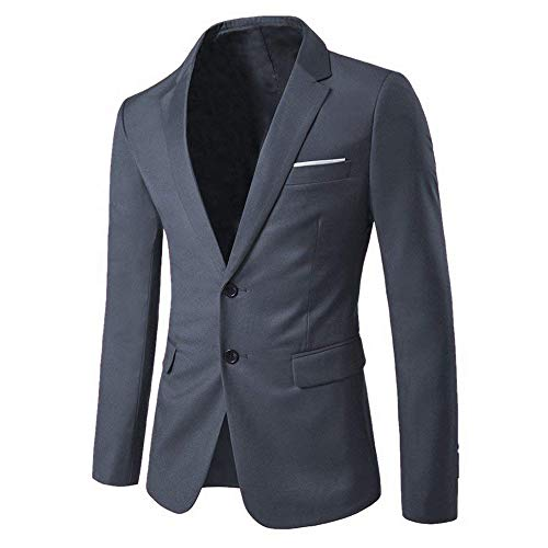 WEEN CHARM Mens Blazer Jacket Slim Fit Casual Two Button Solid Suit Separate Jacket Gray