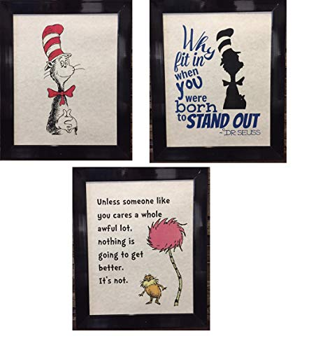 Set of 3 Dr. Seuss Artwork Prints Picture Poster Home Office Bedroom Nursery Kitchen Wall Decor - unframed]()