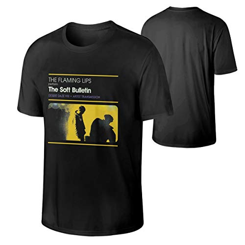 Men Personality Music Band Anime Game Cartoon The Flaming Lips The Soft Bulletin Funny Cotton Tee Shirt Gift XL Black