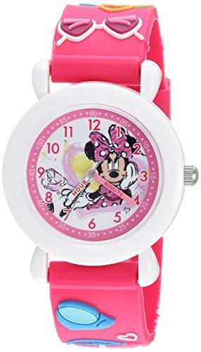 Disney Girl's 'Minnie Mouse' Quartz Plastic Casual Watch, Color:Pink (Model: WDS000390)