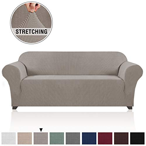"""1 Piece Jacquard High Stretch Extra Large Sofa Slipcover Spandex with Small Checks Oversized Sofa Cover Stylish Furniture Protector Cover for Couch (XL Sofa up to 120"""", Taupe)"""