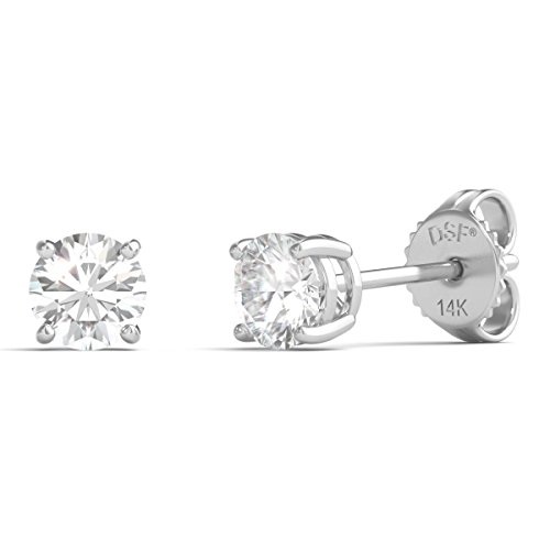 Diamond Studs Forever Solitaire Diamond Earrings (1/2 Ct tw, AGS Certified, GH/I1-I2) 14K White Gold by Diamond Studs Forever
