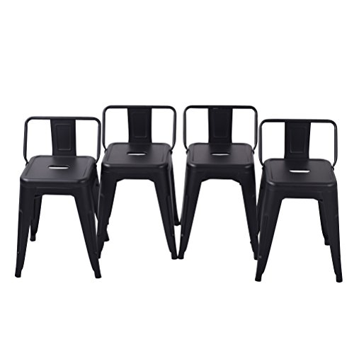 Tongli Metal BarStools Set Industrial Counter Stool (Pack of 4) Patio Dining Chair Matte Black Low Back 18