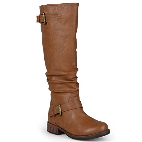 Journee Collection Womens Extra Wide-Calf Buckle Knee-High Riding Boot (9 Extra Wide, Tan) (Wide Knee Calf Boots High Extra)