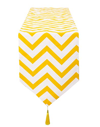 - Poise3EHome 12X48 inches Chevron Stripe Table Runner with Tassels for Dinning Wedding Party Decoration, Yellow Stripe
