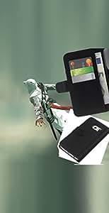 KLONGSHOP // Tirón de la caja Cartera de cuero con ranuras para tarjetas - Flying Assassin - Samsung Galaxy S6 EDGE //
