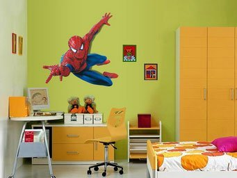 Large Spiderman 3d Art Wall Decals/removable PVC Wall Stickers Mural for Boys' Room Decor 90*110cm