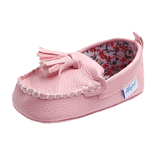 Leather Single Casual Flats Shoes , WeiYunTiny Crib Shoes Cute Toddler Casual Shoes (3~6Months, Pink)