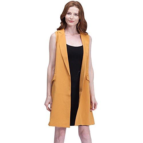 BELLA PHILOSOPHY Women's Blazer Vest Jackets outerwear with Long Pockets Turn-down Collar Open Stitch Sleeveless (Long Suit Jackets Women)