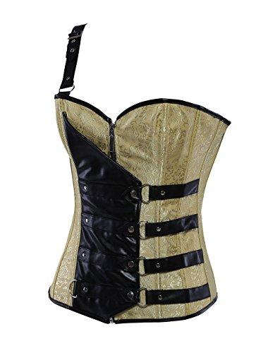 ZAMME Corsé de Steampunk del hombro de las mujeres y cintura de Bustiers que adelgaza