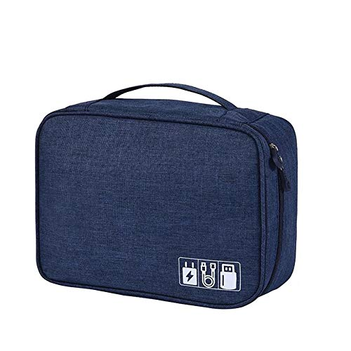 Electronic Organizers Travel Cable Cord Bag USB Storage Bag Multi-fonction Large Capacity Accessories Cable Organizer Bag(Blue)