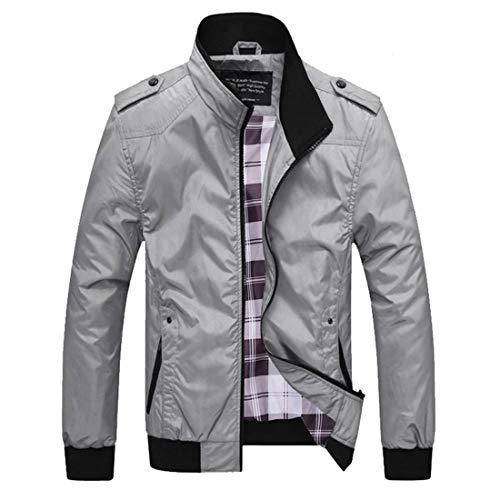 Giacche Casual Grigio Pzj Manica Vintage Foderato Giacca Uomo Cappotto Jacket Chiaro Lunga Cappotto Con Tartan Retro Tops Motivo wa6xwrOB