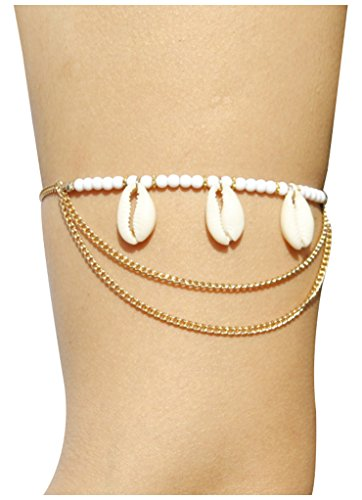 Vintage Multilayer Boho Arm Chain Bohemia Jewelry with Sea Shell (Gold Seashell Bracelet)