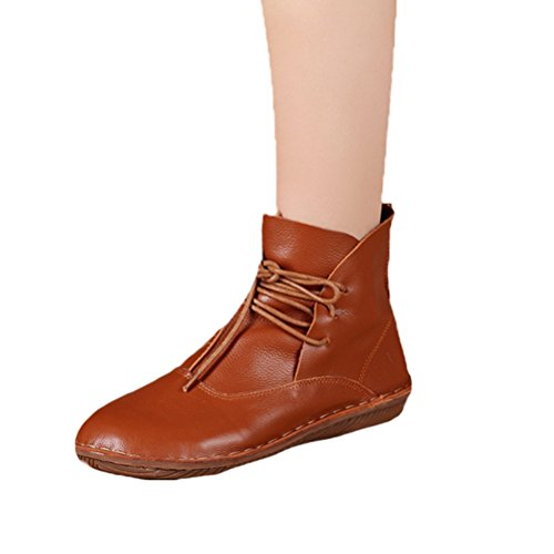 Mordenmiss Women's Leather Short Boots New Shoes Style 1-Brown ()
