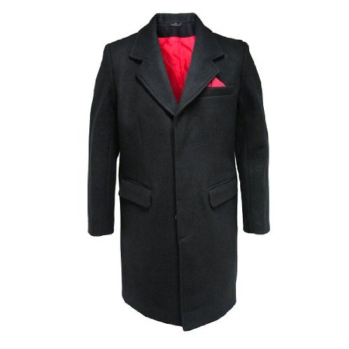 Relco Mens Crombie Mod Overcoat with Red Lining Black 2XL