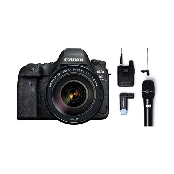 RetinaPix Canon EOS 6D Mark II 26.2MP Digital SLR Camera with EF24-105 mm f/4L is II USM Lens + Sennheiser AVX-Combo SET-4-US Digital Wireless Microphone System
