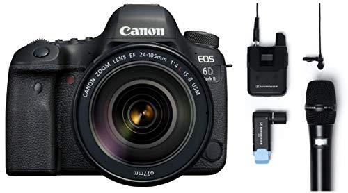 Canon EOS 6D Mark II 26.2MP Digital SLR Camera with EF24-105 mm f/4L is II USM Lens + Sennheiser AVX-Combo SET-4-US Digital Wireless Microphone System