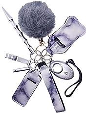 9 Pcs Keychain Car Keys Gift Kit with Personal Sound Alarm,Wristlet Strap Pom Pom Ball, Lip Balm Keychain, Whistle for Women