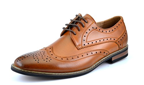 Bruno HOMME MODA ITALY PRINCE Men's Classic Modern Oxford Wingtip Lace Dress Shoes,PRINCE-3-BROWN,14 D(M) US