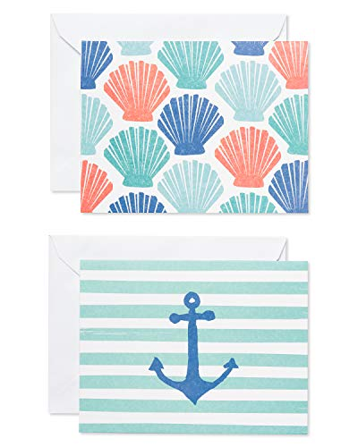 American Greetings Beach Theme Blank Cards and Envelopes, 50-Count