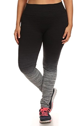 Womens Plus Size Activewear Yoga Ombre Leggings 2X/3X Black/Charcoal