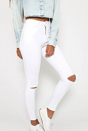 Jeans A Denim Distrutti Slim Pantaloni Bianco Donne Fit Vita Strappati Alta TFRwW1n