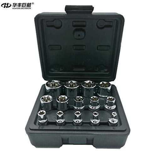 AFCN 14PC E Torx Star Female Bit Socket Set with a Strong Case CRV 1/2