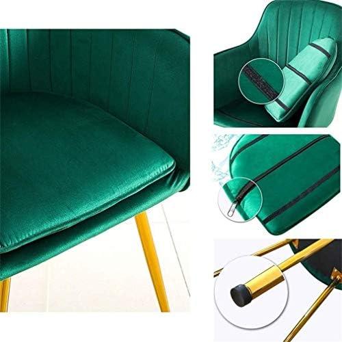 Maquillage coussin de velours à manger chaise verte chaise flanelle cadre en métal chaise longue chaise de cuisine dossier amovible et lavable