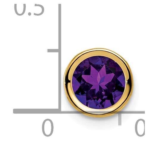 14K Yellow Gold 6mm Amethyst bezel pendant from Roy Rose Jewelry